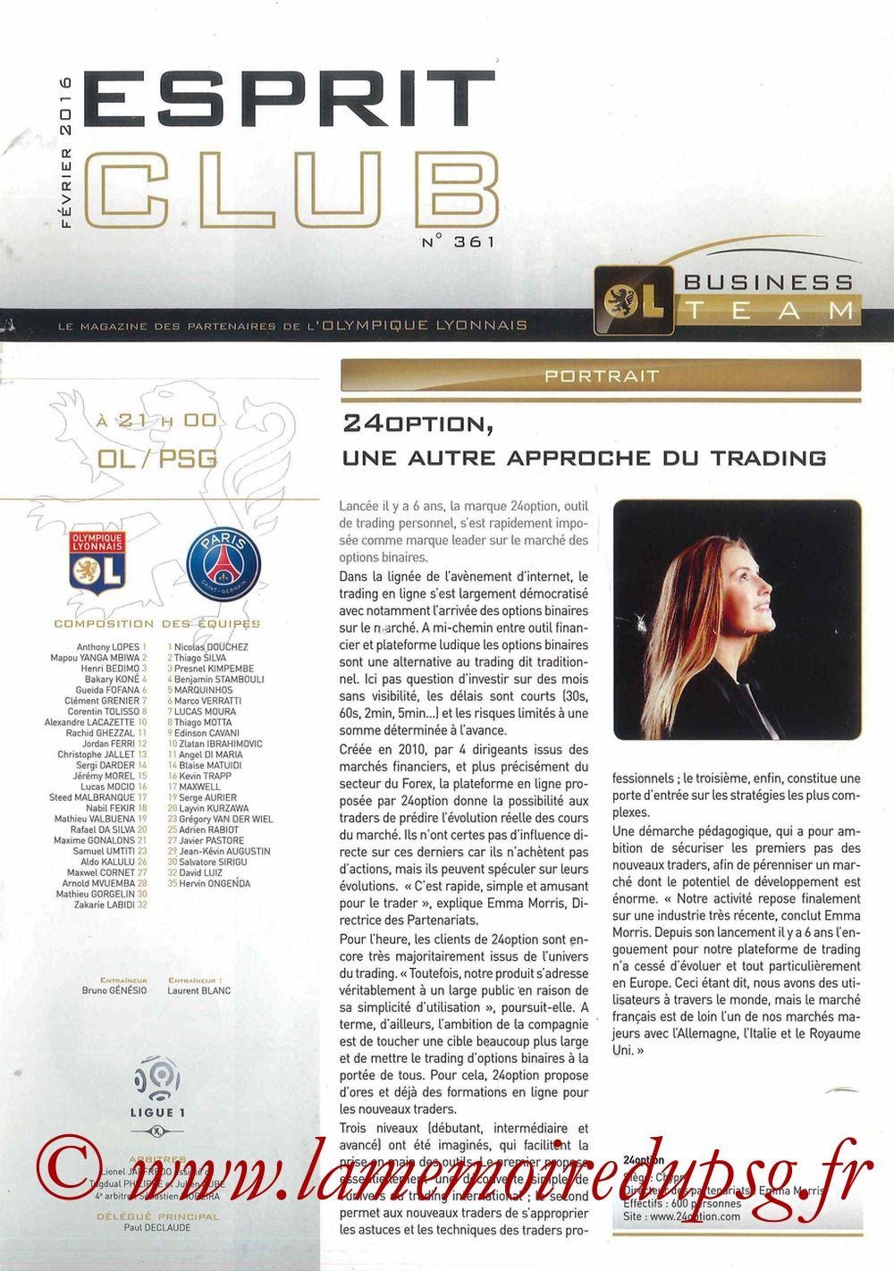 2016-02-28  Lyon-PSG (28ème L1, Esprit Club N°361)