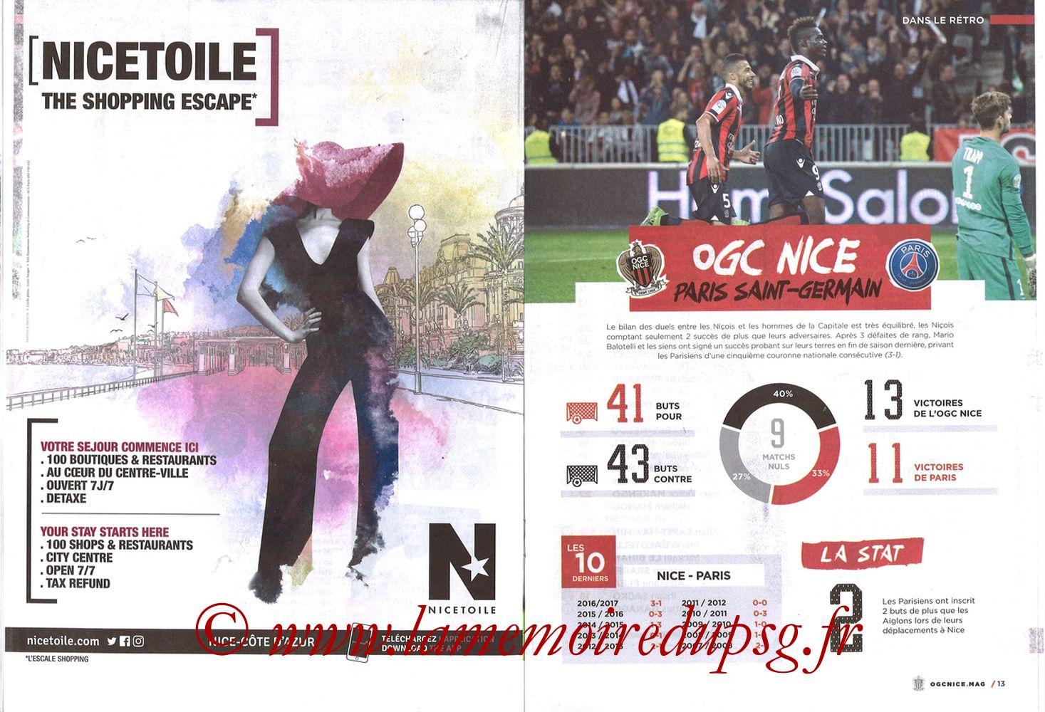 2018-03-18  Nice-PSG (30ème L1, OGC Nice Mag N°306) - Pages 12 et 13