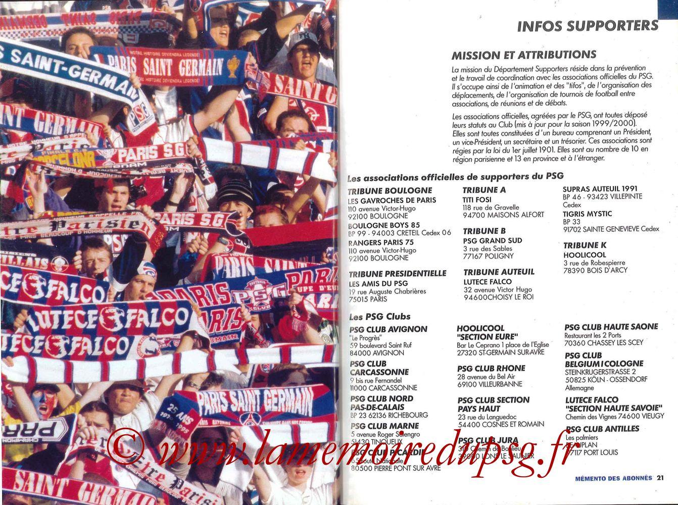 2000-01 - Guide de la Saison PSG - Pages 20 et 21