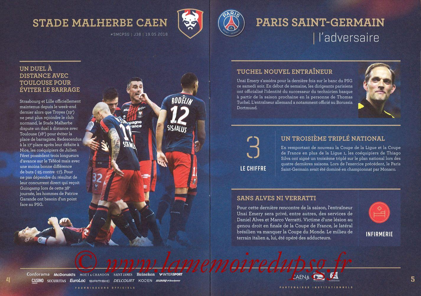 2018-05-19  Caen-PSG (38ème L1, Programme officiel) - Pages 04 et 05
