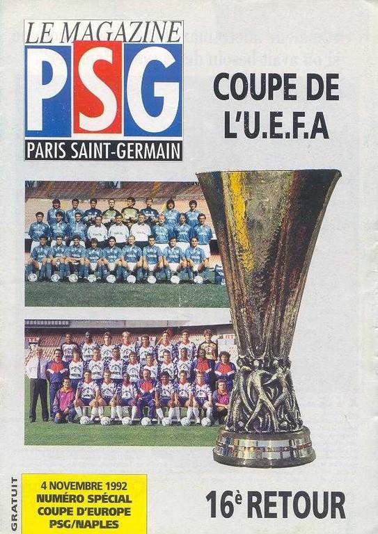 1992-11-04  PSG-Naples (16ème Finale Retour C3, Le Magazine PSG N°HS)