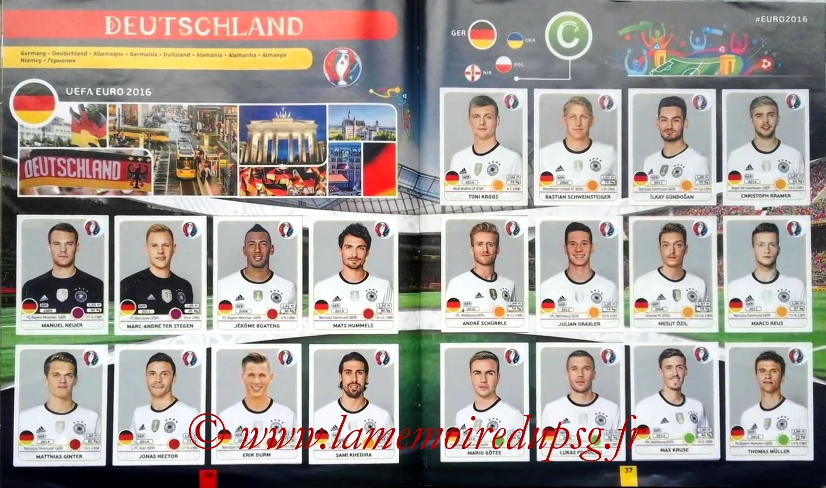 Panini Euro 2016 Stickers - Pages 36 et 37 - Allemagne