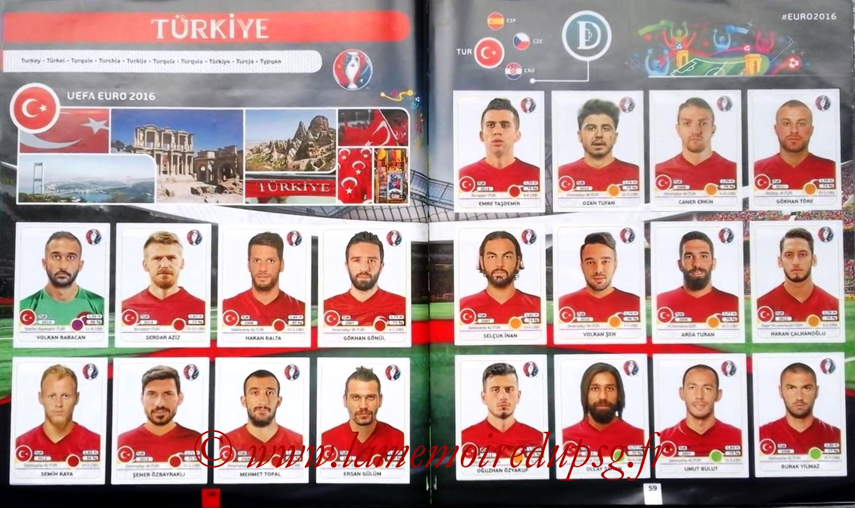Panini Euro 2016 Stickers - Pages 58 et 59 - Turquie
