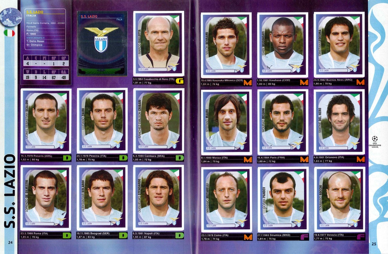 2007-08 - Panini Champions League - Pages 24 et 25 - Lazio Rome