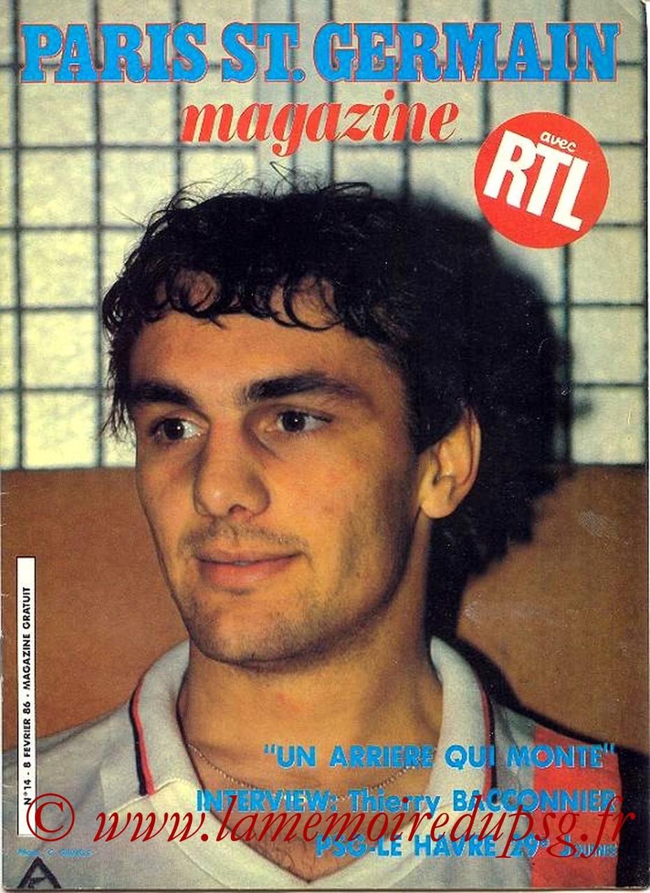 1986-02-08  PSG-Le Havre (29ème D1, Paris St Germain Magazine N°14)