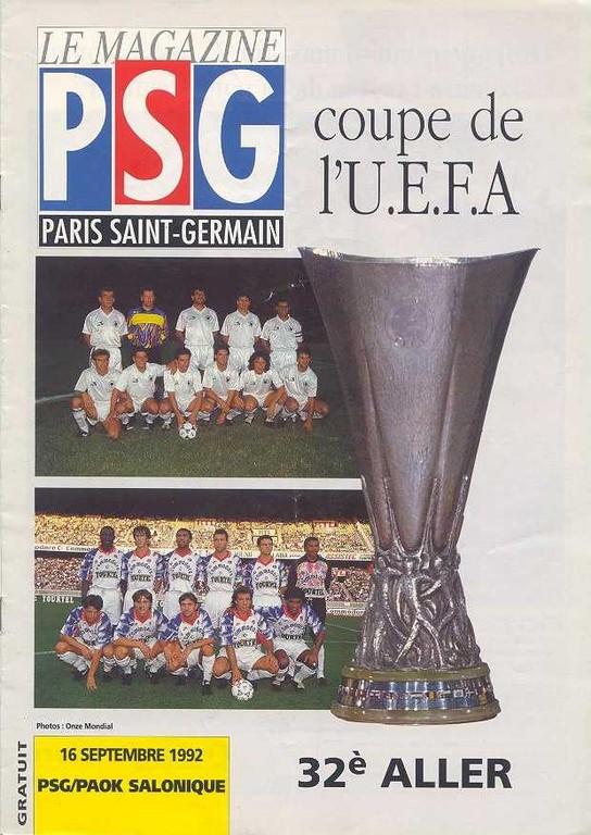 1992-09-16  PSG-PAOK Salonique (32ème Finale Aller C3,  Le Magazine PSG N°HS)