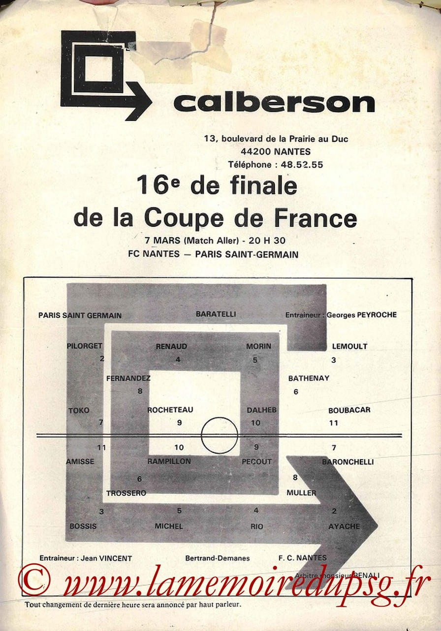 1981-03-07  Nantes-PSG (16ème CF aller, Feuille de match)