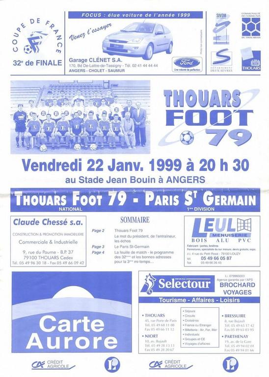 1999-01-22  Thouars-PSG (32ème Finale CF arrêté à Angers, Programme Officiel)