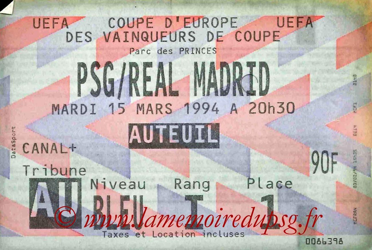 1994-03-15  PSG-Real Madrid (Quart finale Retour C2, bis)