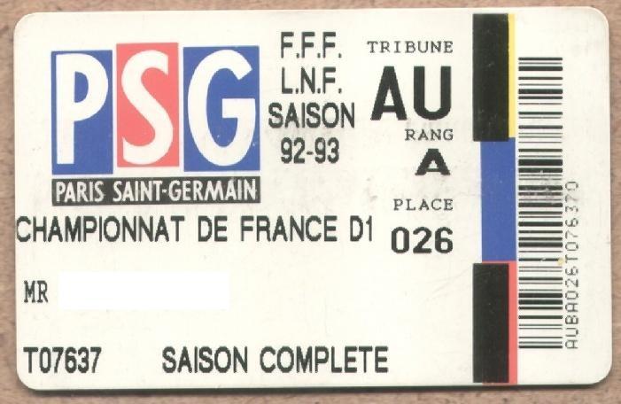 Carte d'abonné PSG 1992-93