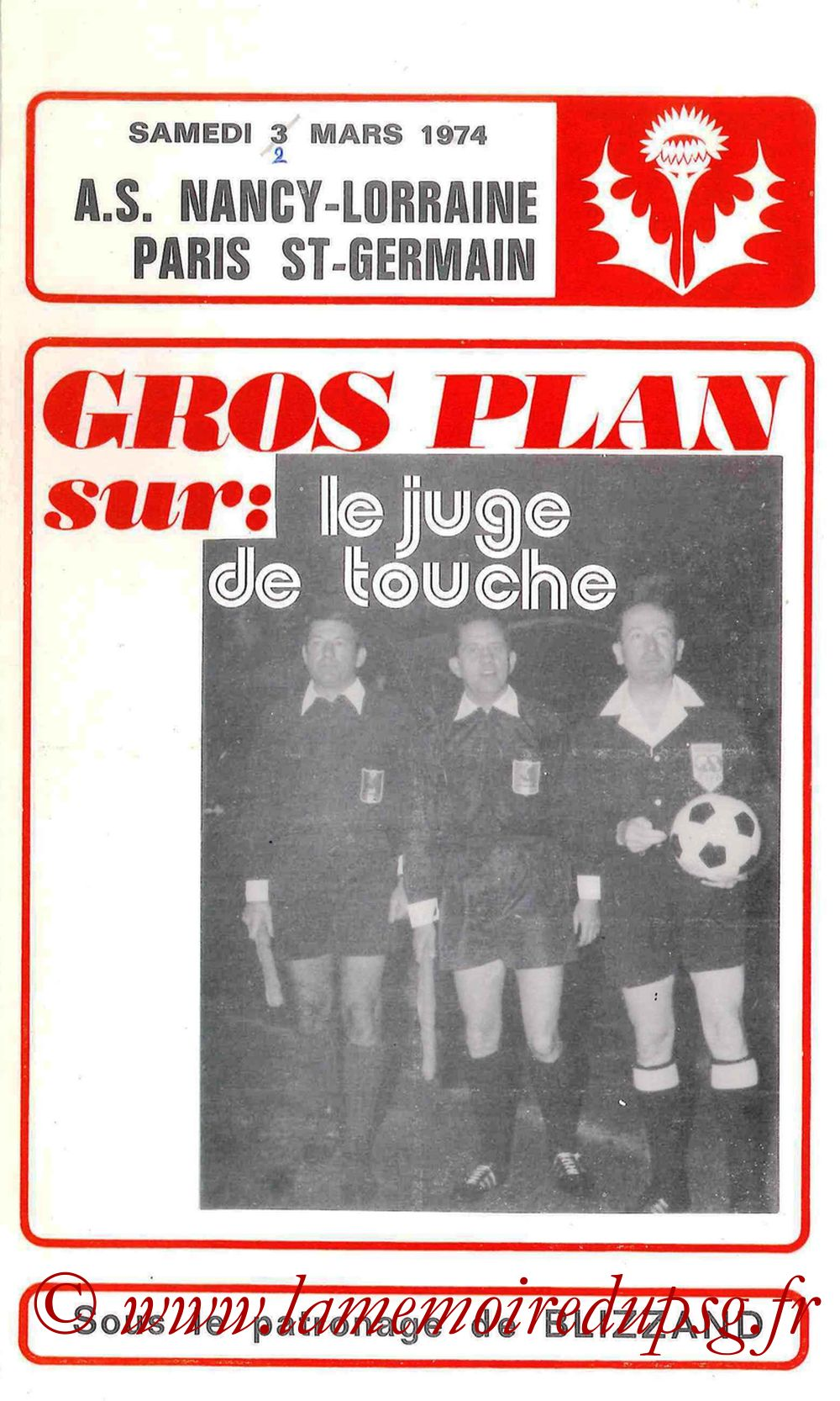 1974-03-02  Nancy-PSG (16ème Aller CF, Programme officiel)