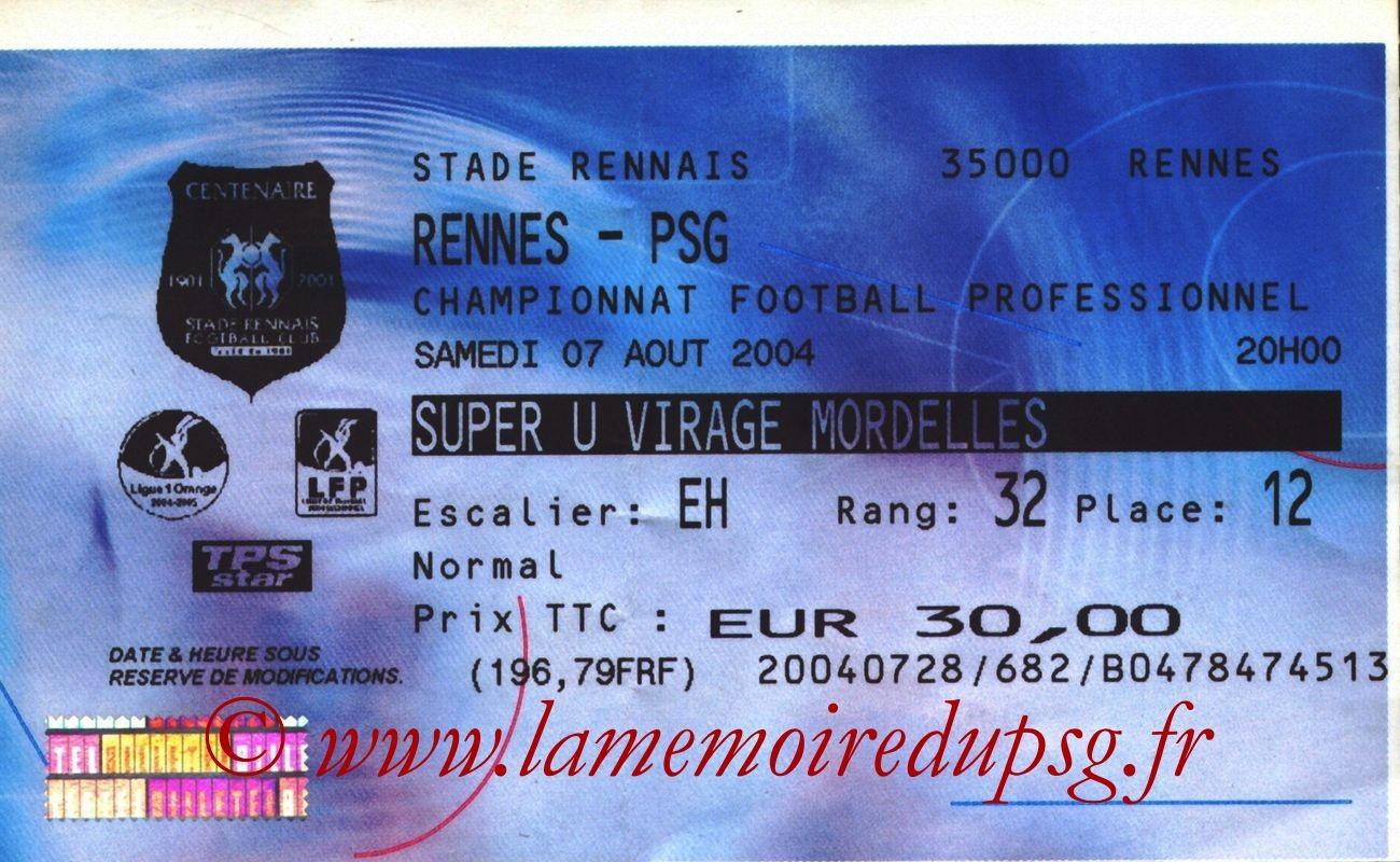 2004-08-07  Rennes-PSG (1ère L1, Billetel)2004-08-14  PSG-Caen (2ème L1)