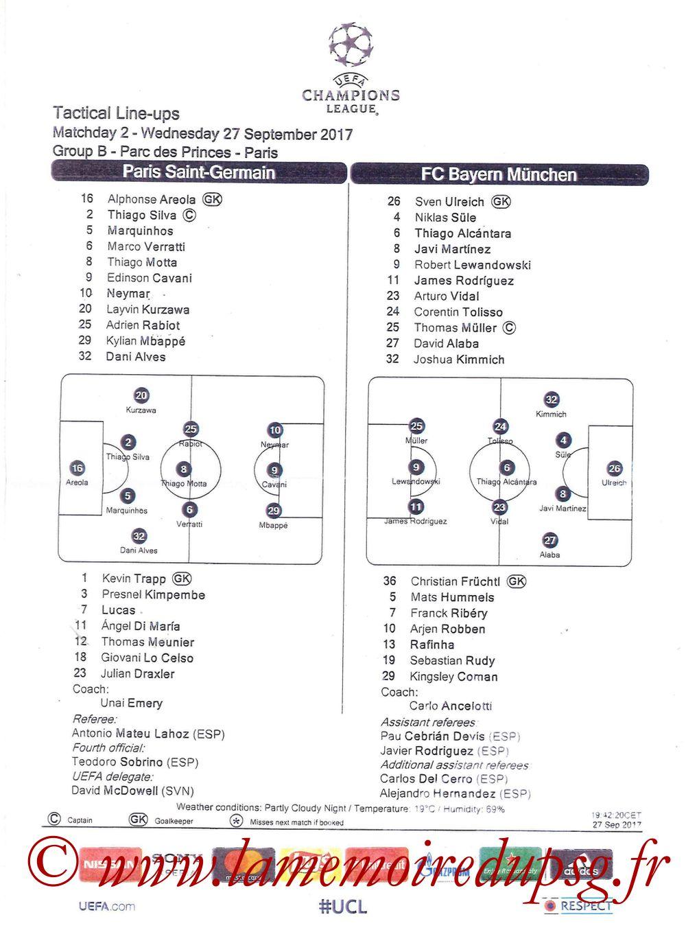 2017-09-27  PSG-Bayern (2ème Poule C1, Feuille de match)