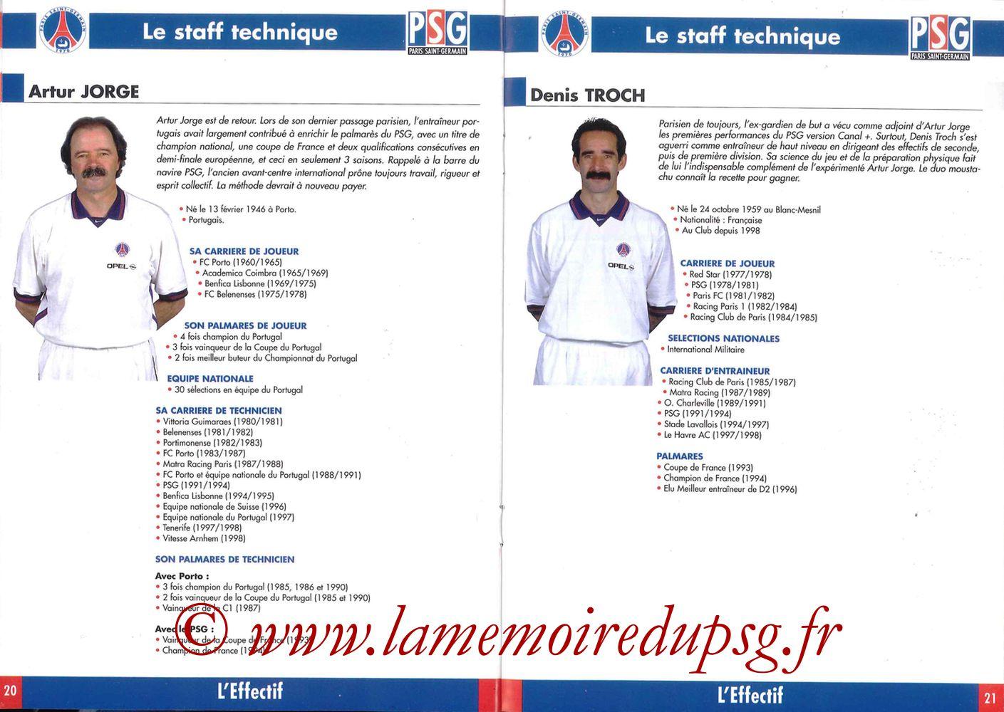 1998-99 - Guide de la Saison PSG - Pages 20 et 21