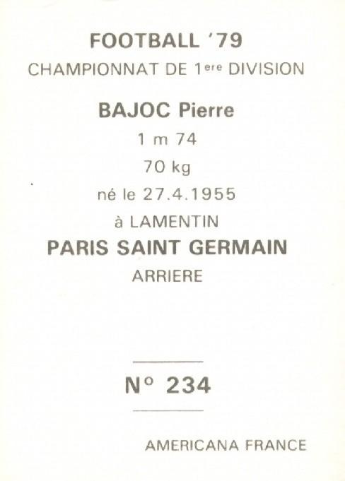 N° 234 - Pierre BAJOC (Verso)