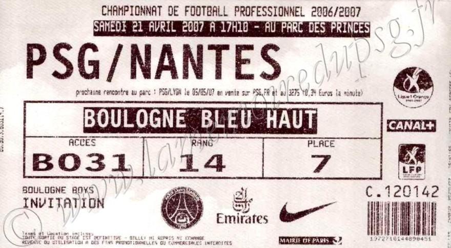 2007-04-21  PSG-Nantes (33ème L1)