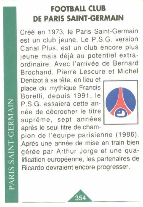 N° 354 - Ecusson PSG (Verso)