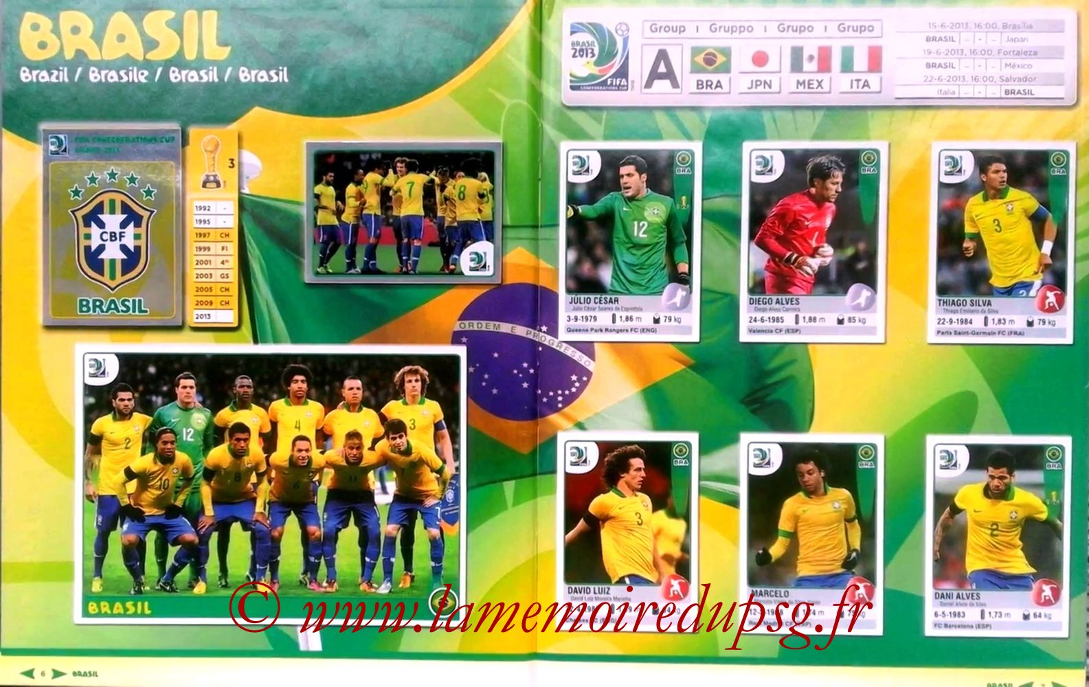 2013 - Panini Confederations Cup Brasil Stickers - Pages 06 et 07 - Brésil