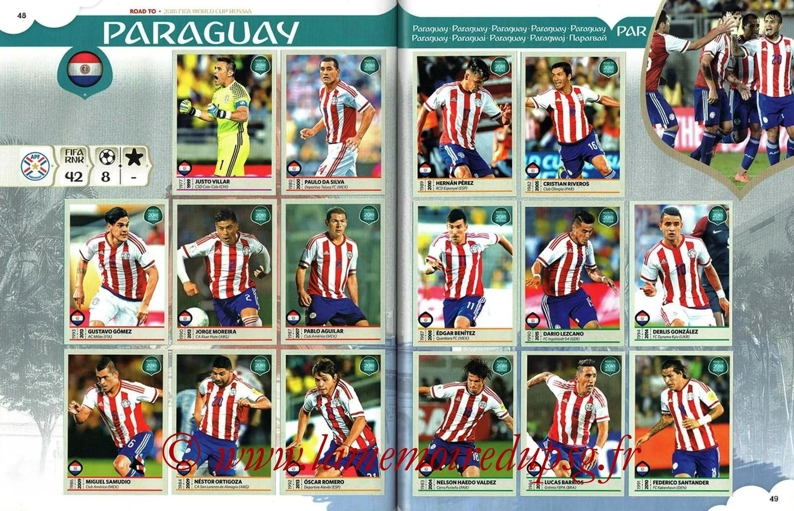 2018 - Panini Road to FIFA World Cup Russia Stickers - Pages 48 et 49 - Paraguay