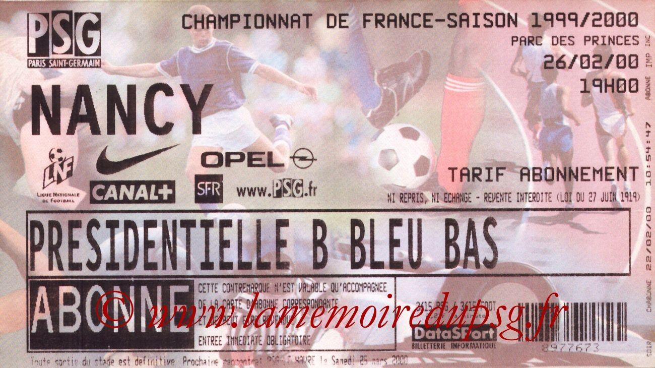 2000-02-26  PSG-Nancy (27ème D1)