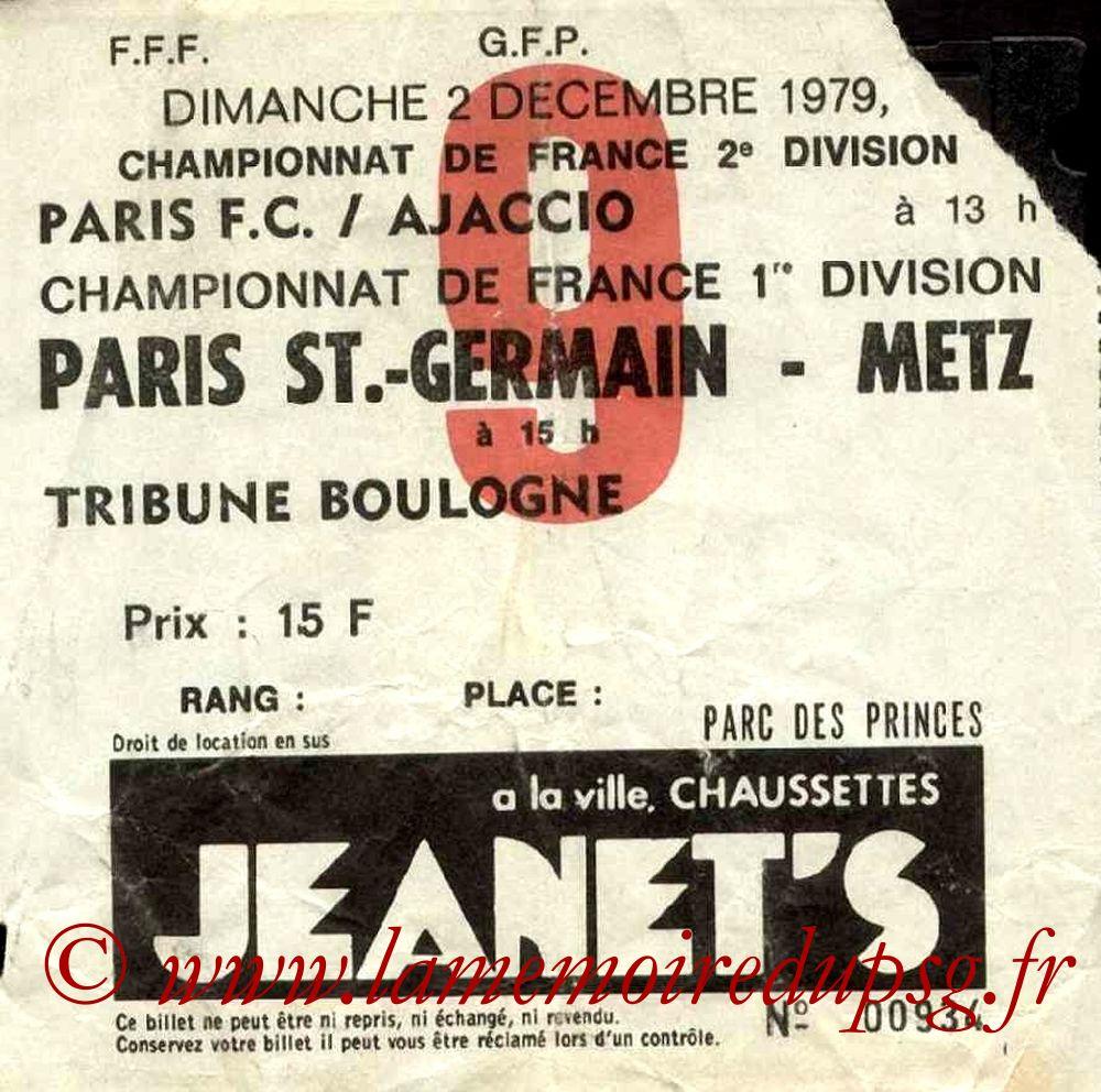 1979-12-02  PSG-Metz (19ème D1, Ticket N°9)
