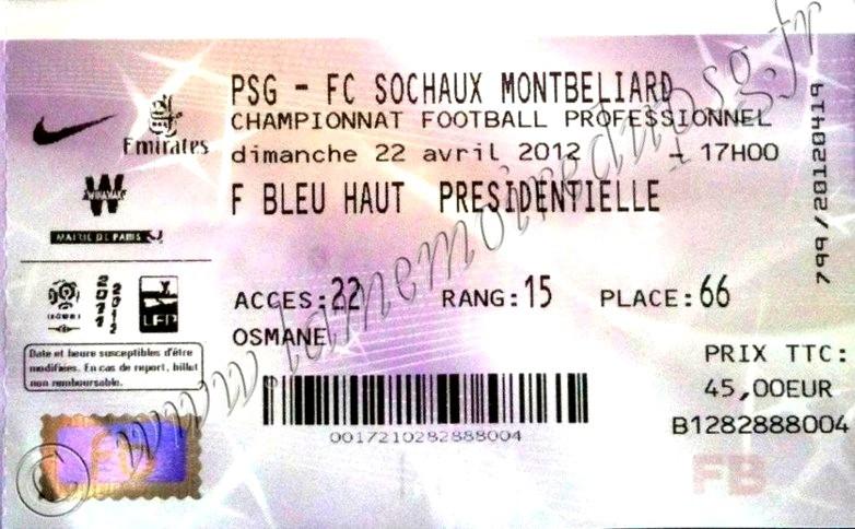 2012-04-22  PSG-Sochaux (33ème L1, Ticketnet)