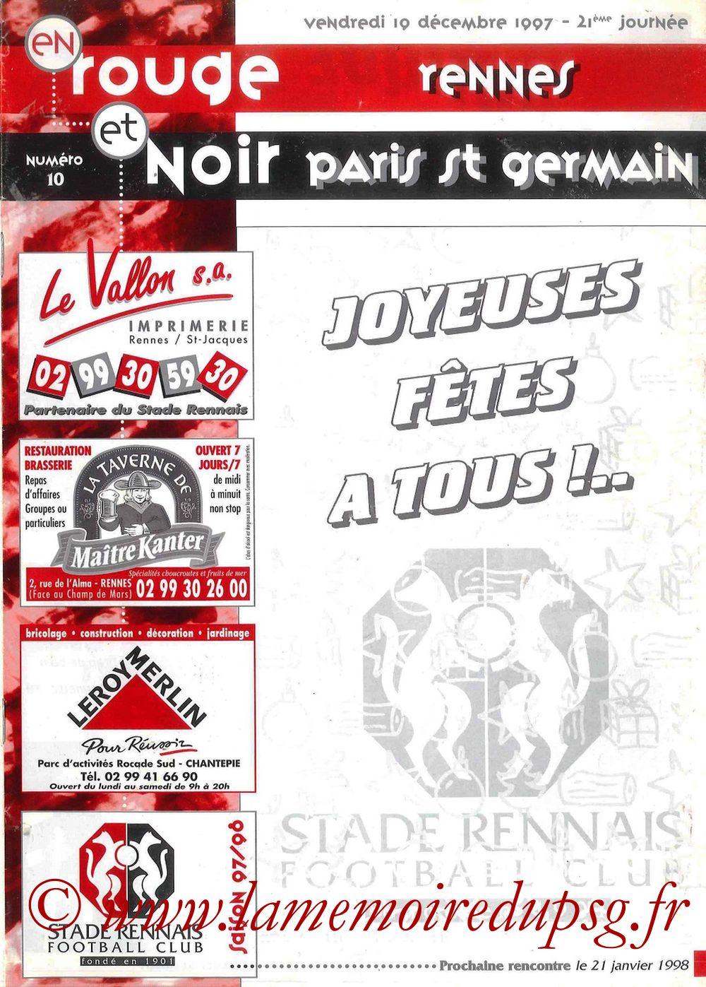 1997-12-19  Rennes-PSG (21ème D1, Rouge et Noir N°10)