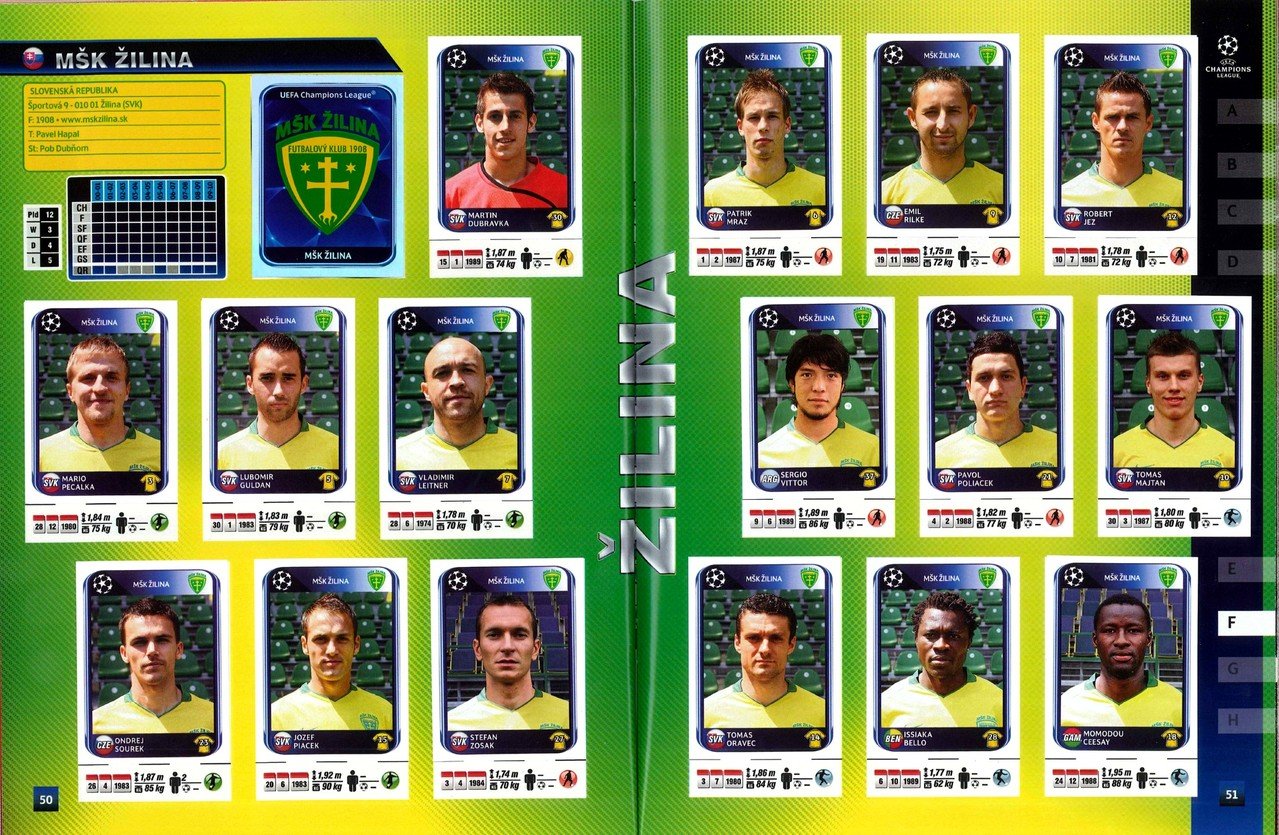 2010-11 - Panini Champions League - Pages 50 et 51- MSK Zilina