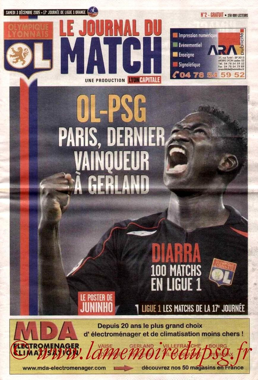 2005-12-03  Lyon-PSG (17ème L1, Le journal du match N°2)