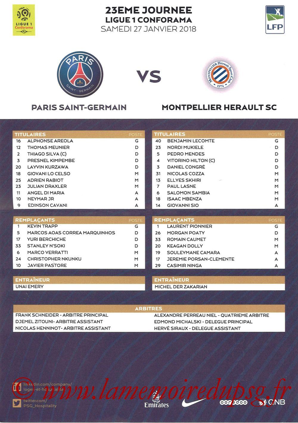 2018-01-27  PSG-Montpellier (23ème L1, Feuille de match)