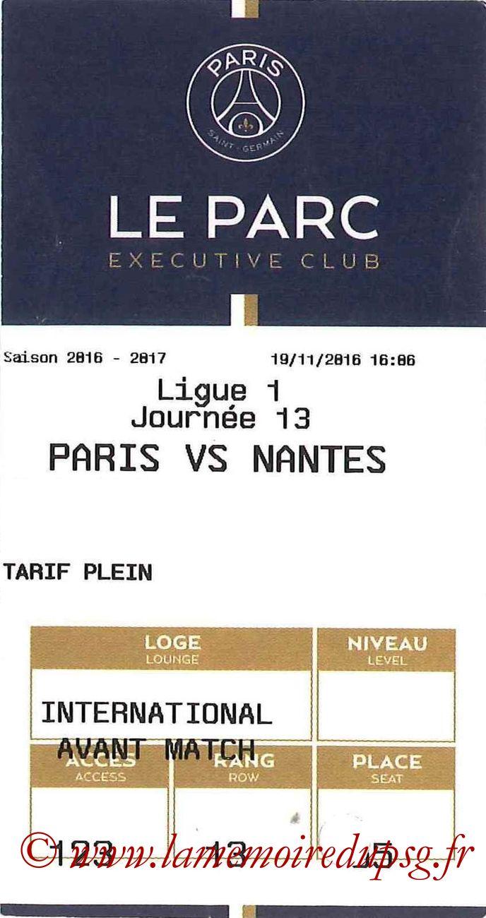 2016-11-19  PSG-Nantes (13ème L1, E-ticket Executive club)
