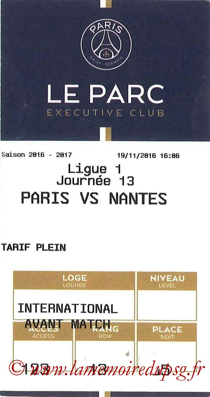 2016-11-19  PSG-Nantes (13ème L1, E-ticket Executive club)