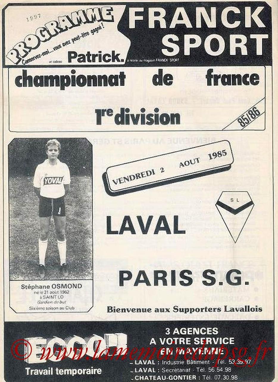 1985-08-02  Laval-PSG (5ème D1, Programme officiel)