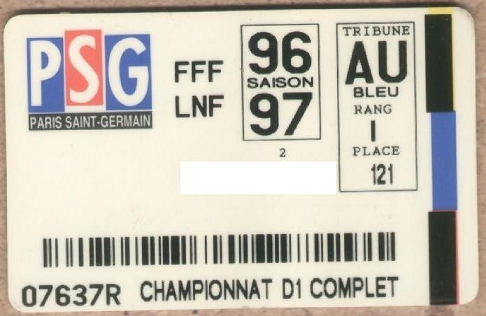 Carte d'abonné PSG 1996-97