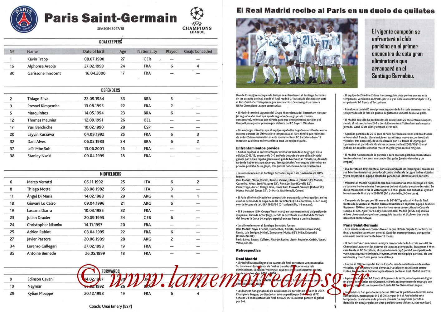 2018-02-14  Real Madrid-PSG (8ème C1 aller, Programme pirate) - Pages 06 et 07