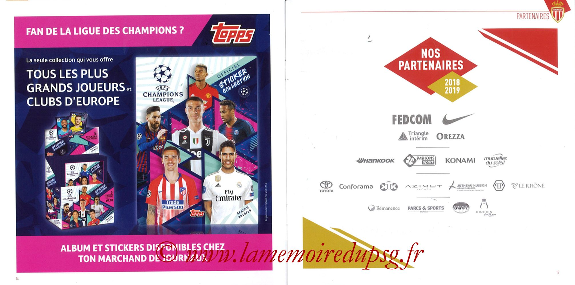 2018-11-11  Monaco-PSG (13ème L1, Programme officiel) - Pages 14 et 15