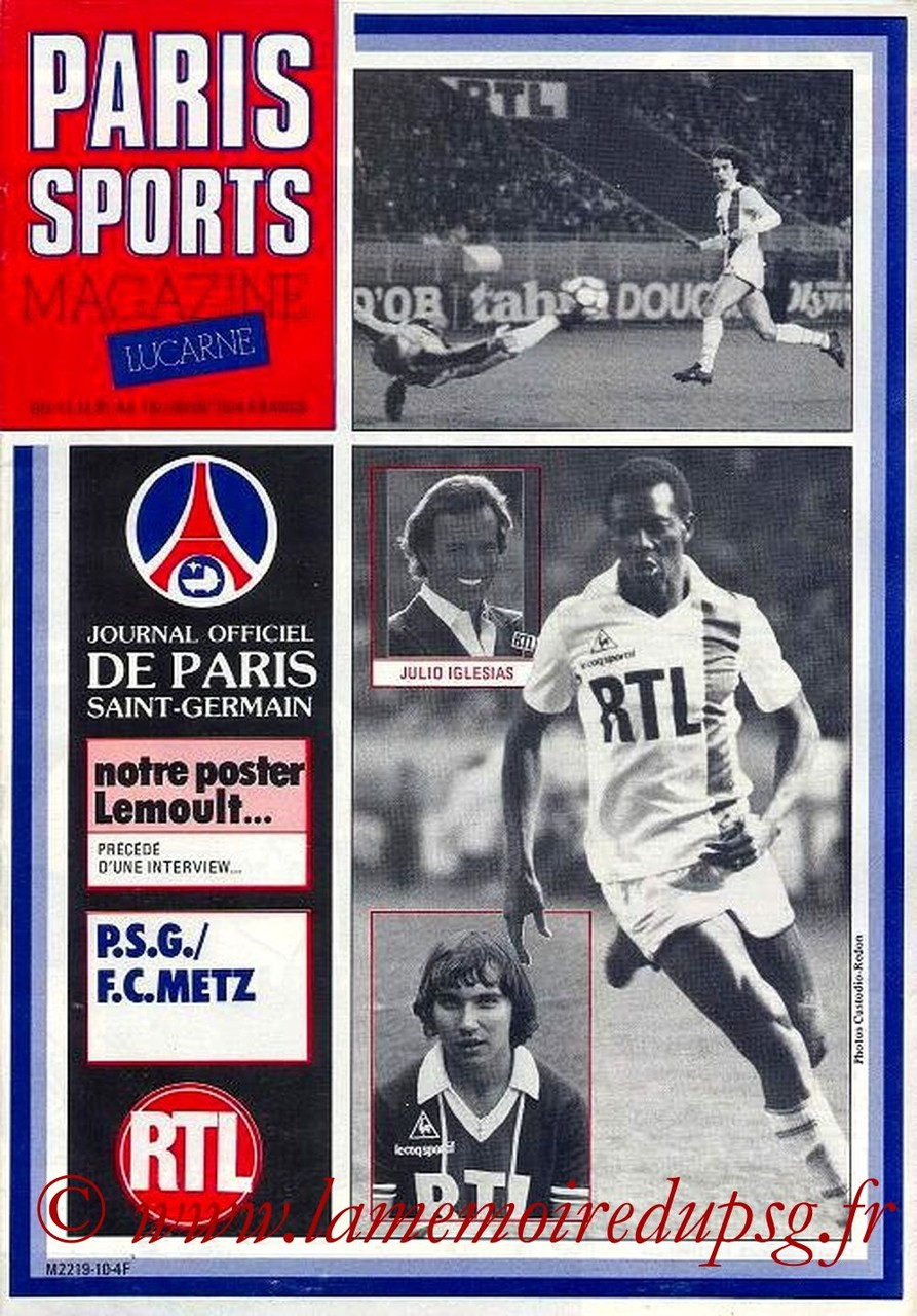 1981-12-12  PSG-Metz (21ème D1, Paris Sports Magazine N°10)