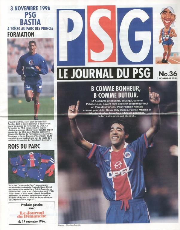 1996-11-03  PSG-Bastia (15ème D1, Le Journal deu PSG N°36)