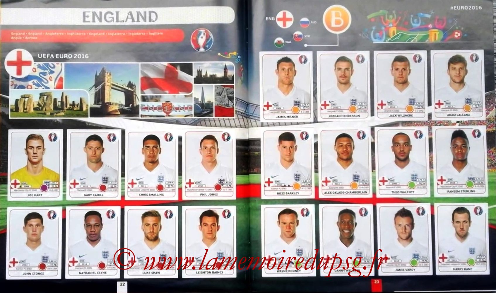 Panini Euro 2016 Stickers - Pages 22 et 23 - Angleterre
