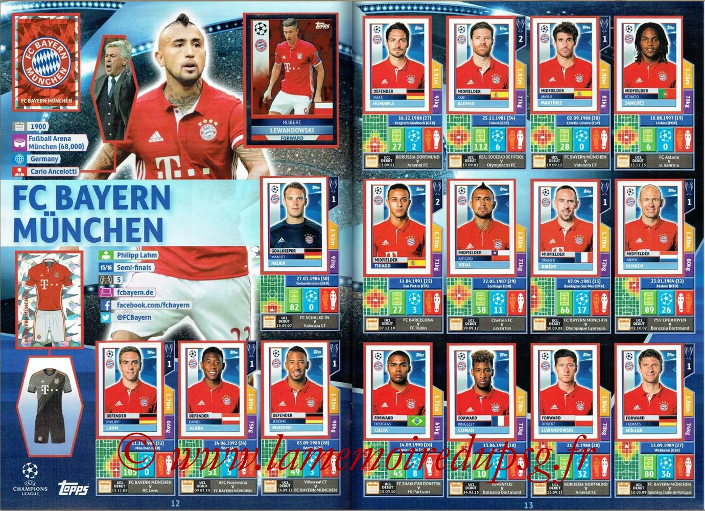 2016-17 - Topps UEFA Champions League Stickers - Pages 12 et 13 - FC Bayern Munich