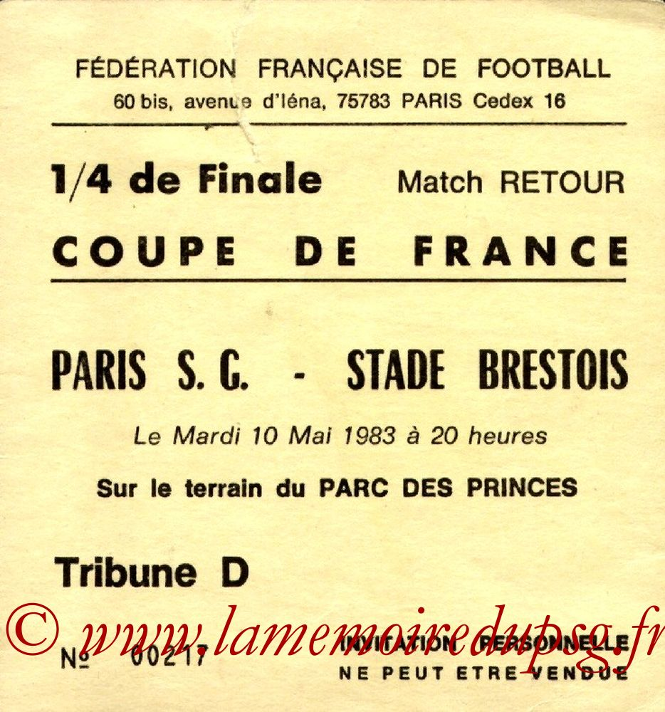 Invitation  PSG-Brest  1982-83