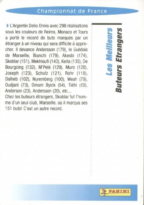 N° R06 - Championnat de France- Les meilleurs buteurs étrangers (Verso)