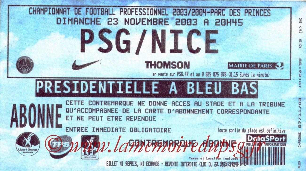 2003-11-23   PSG-Nice (14ème L1)