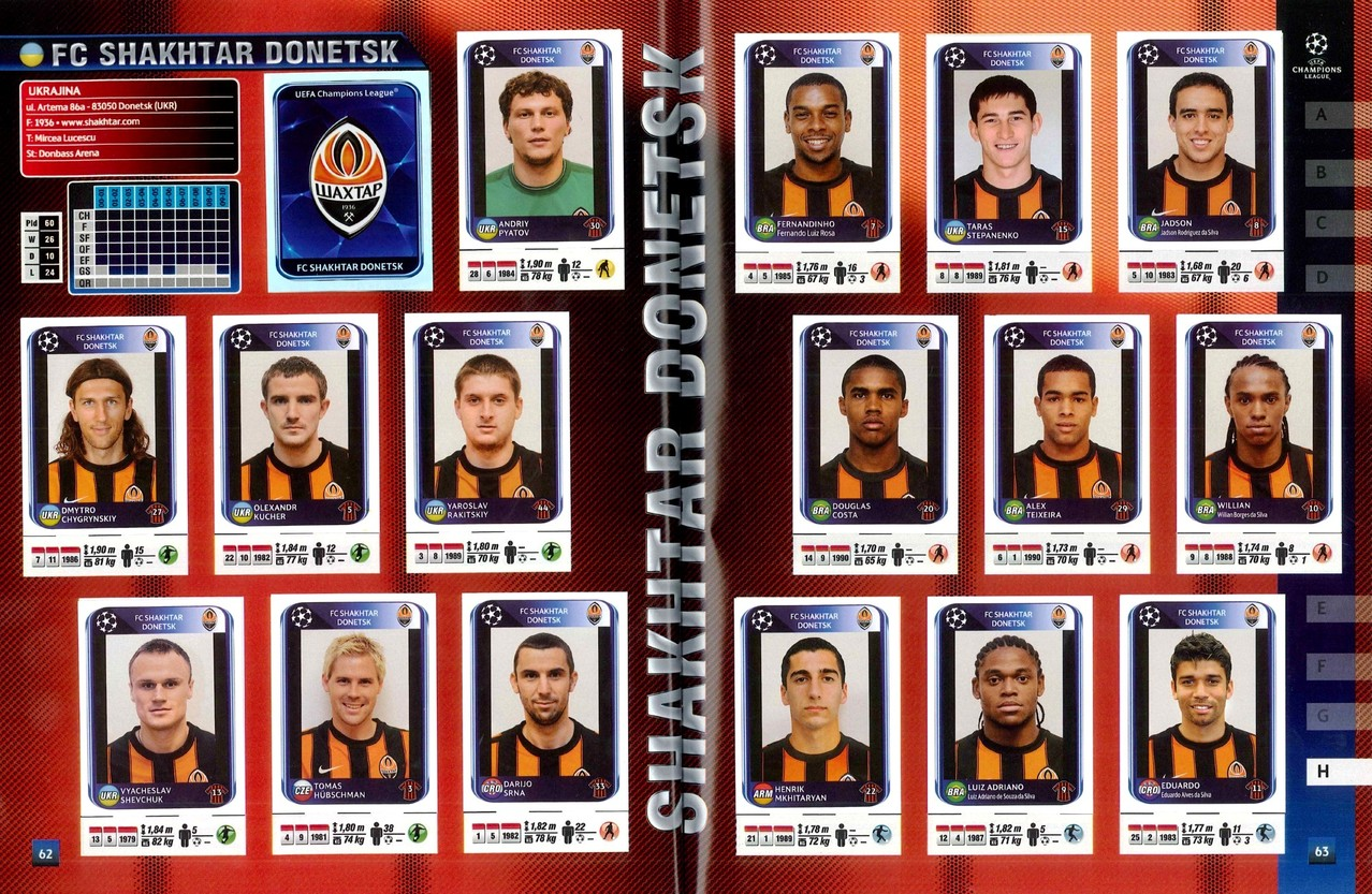2010-11 - Panini Champions League - Pages 62 et 63 - FC Shakhtar Donetsk