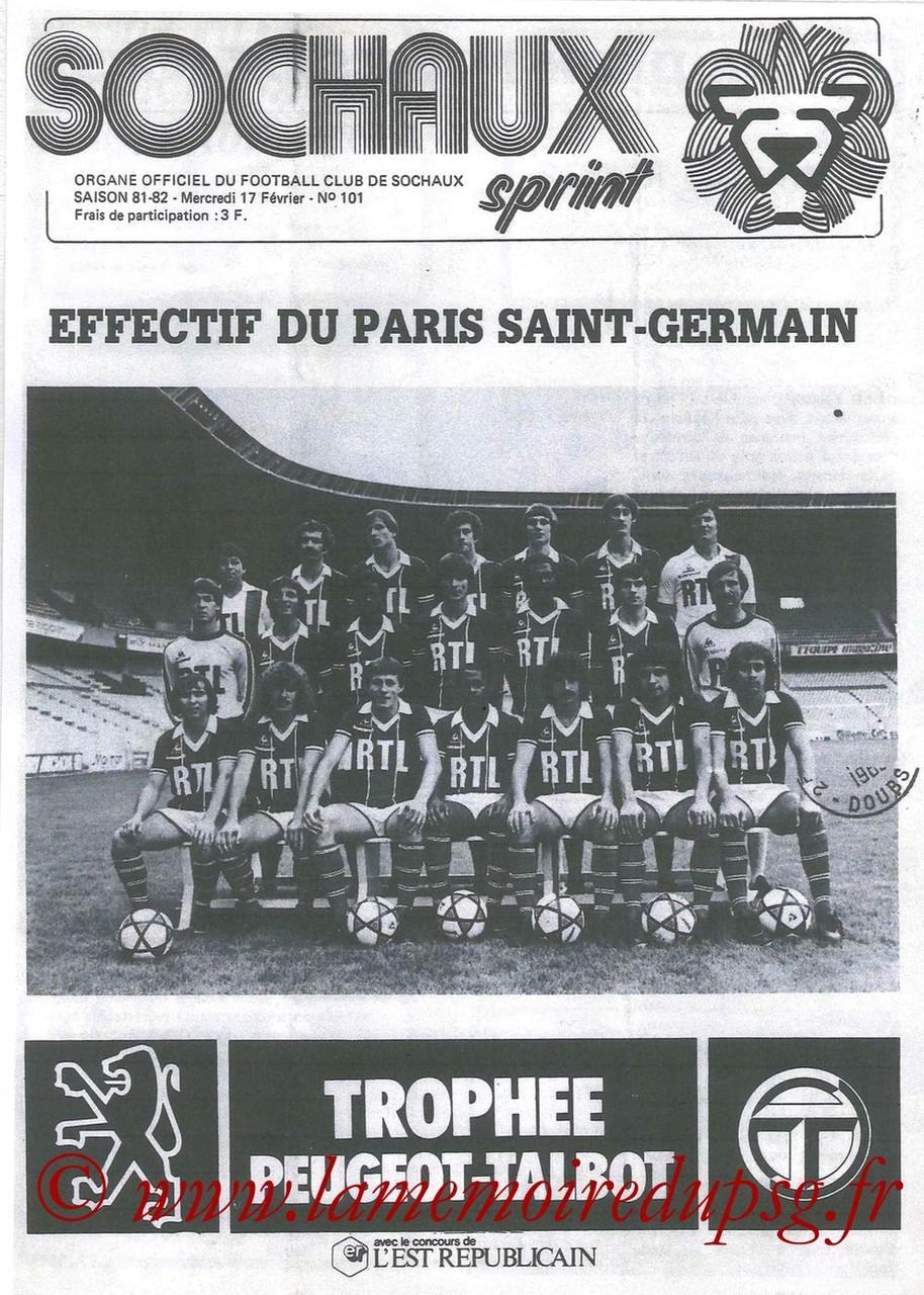 1982-02-17  Sochaux-PSG (24ème D1 en retard, Sochaux Sprint N°101 que je n'ai pas)
