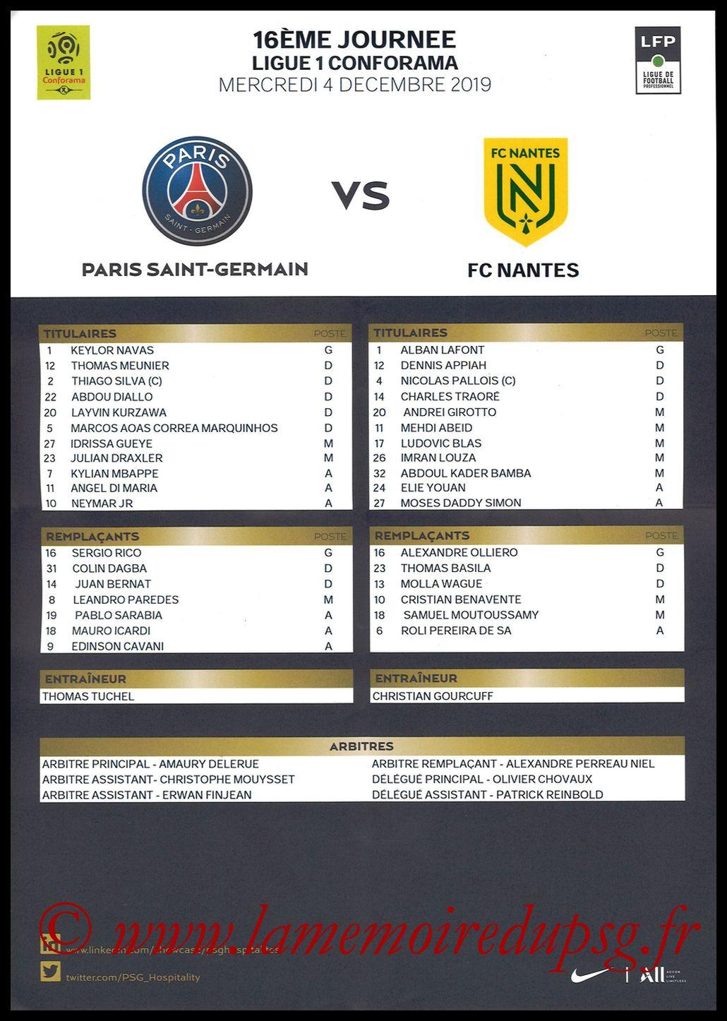 2019-12-04  PSG-Nantes (16ème L1, Feuille de match)