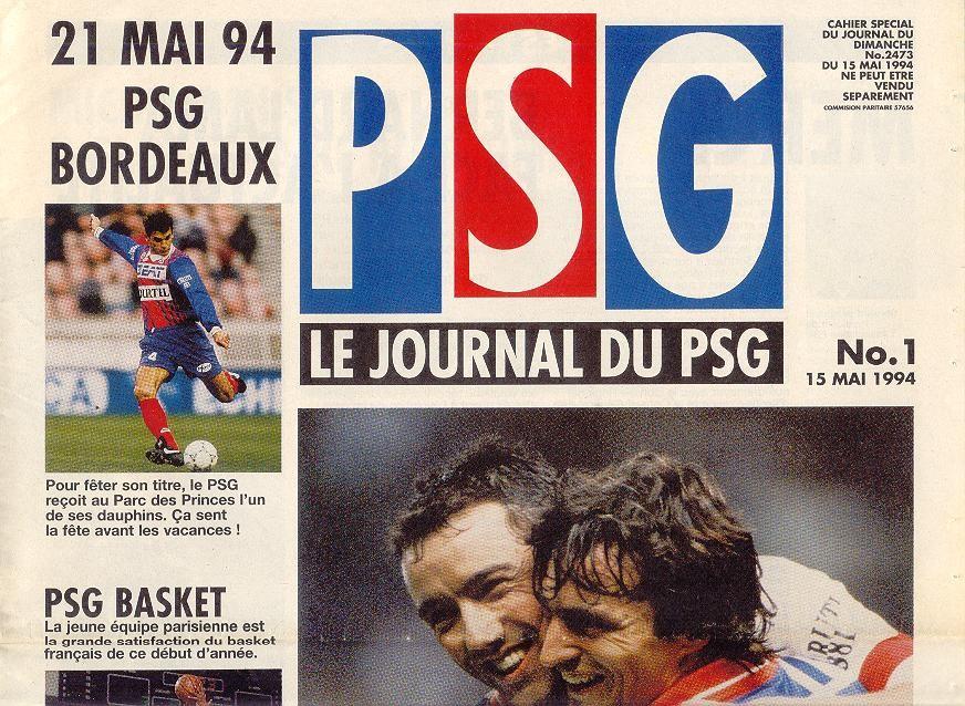 1994-05-21  PSG-Bordeaux (38ème D1,Le journal du PSG N°1)