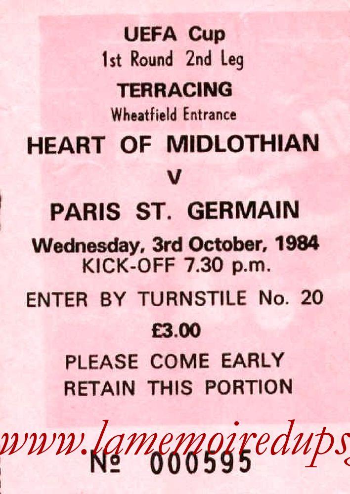 1984-10-03  Heart of Midlothian-PSG (32ème Retour C3)