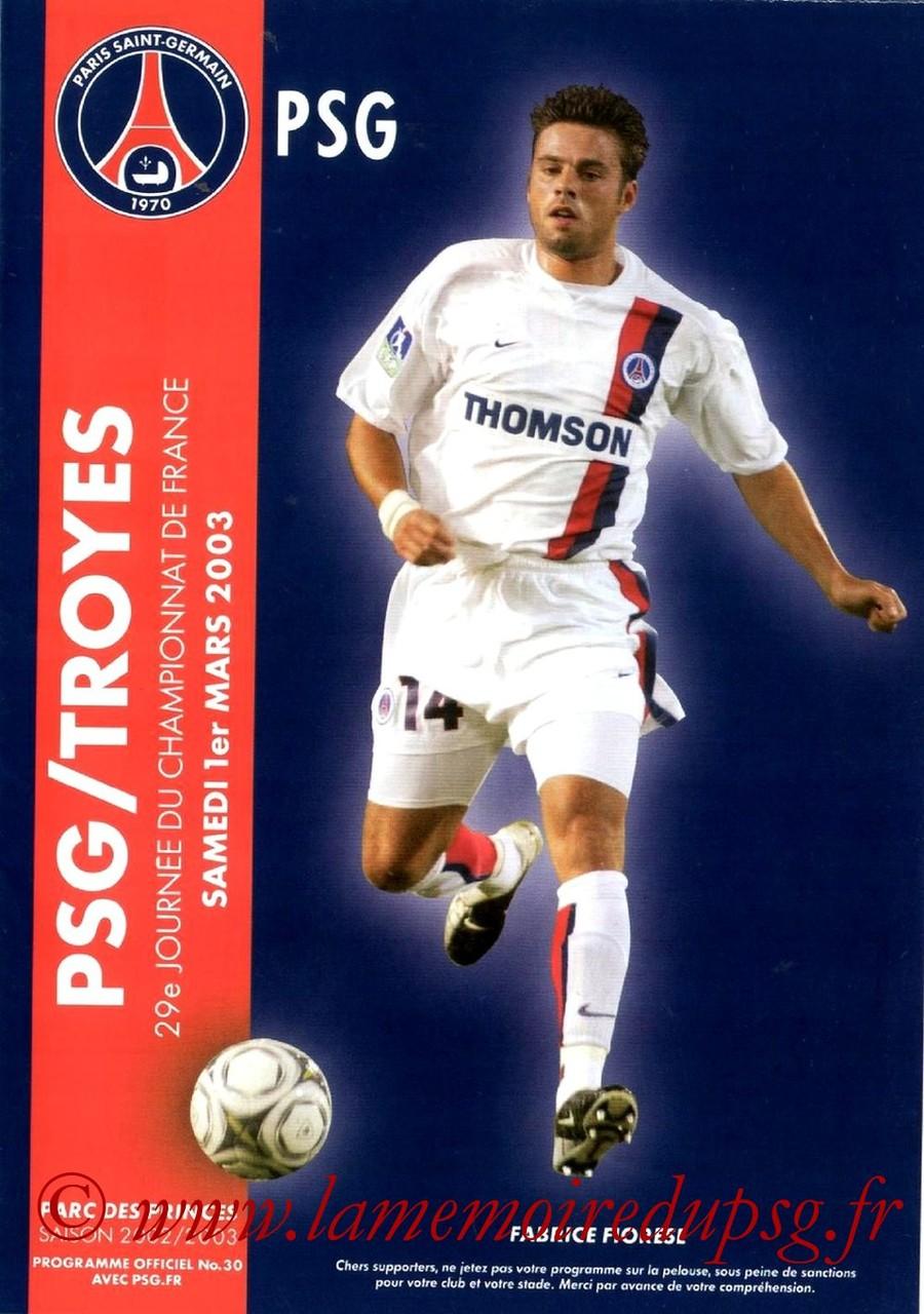 2003-03-01  PSG-Troyes (29ème D1, Programme officiel N°30)