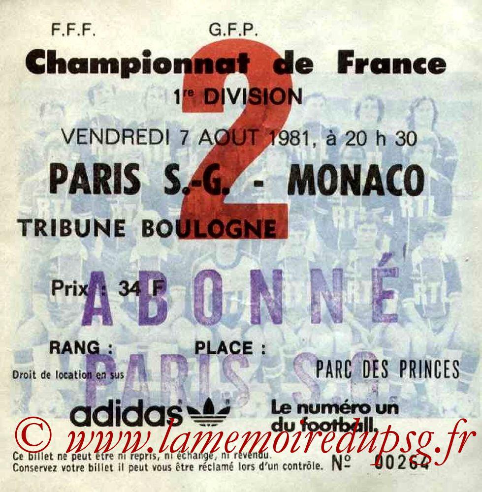 1981-08-07  PSG-Monaco (4ème D1, Ticket N°2)
